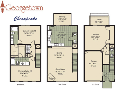 Georgetown townhome community in jacksonville florida for 3 story townhome plans